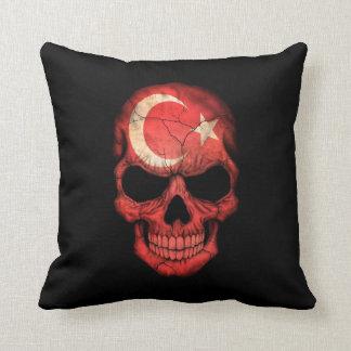 Turkish Flag Skull on Black Throw Pillow
