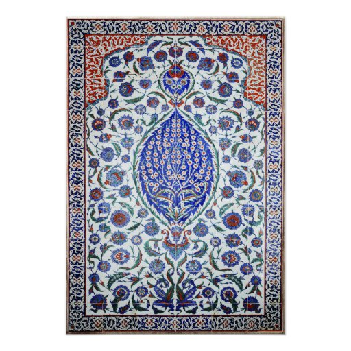 Turkish floral tiles Poster Print