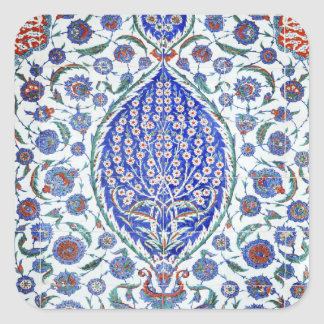 Turkish floral tiles square sticker