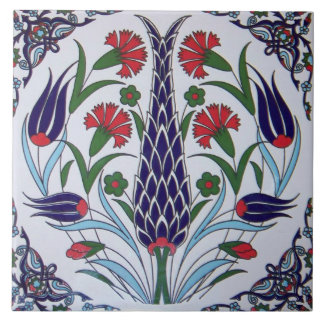 Turkish Flower Design Ceramic Photo Tile