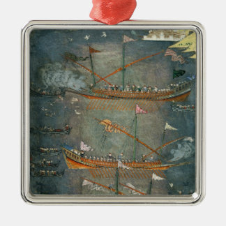 Turkish galleys in battle, c.1636 christmas ornament