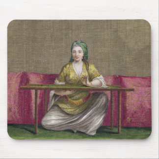 Turkish Girl, embroidering, 18th century (engravin Mouse Mat