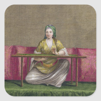 Turkish Girl, embroidering, 18th century (engravin Square Sticker