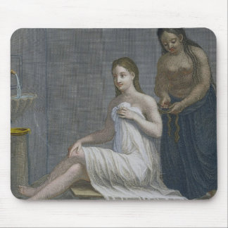 Turkish Girl, having her hair braided in the baths Mouse Mat