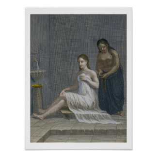 Turkish Girl, having her hair braided in the baths Poster