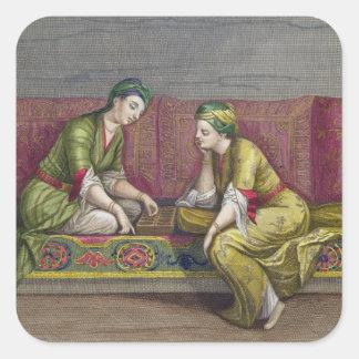 Turkish Girls, playing Mangala, 18th century (engr Square Sticker