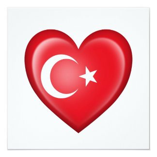 Turkish Heart Flag on White Card