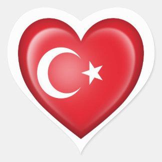 Turkish Heart Flag on White Heart Sticker