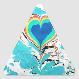 Turkish Heart Water Marbling Triangle Stickers