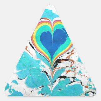 Turkish Heart Water Marbling Triangle Sticker