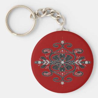turkish influence deco dark red basic round button key ring