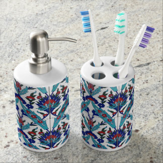 Turkish Iznik Floral Pattern Bathroom Set