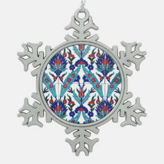 Turkish Iznik Floral Pattern Snowflake Pewter Christmas Ornament