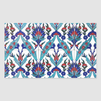 Turkish Iznik Floral Pattern Rectangular Sticker