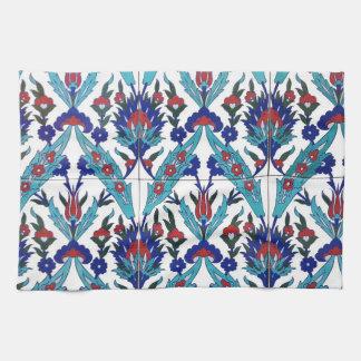 Turkish Iznik Floral Pattern Tea Towel