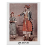 Turkish Lady With Maid By Jean-Etienne Liotard Poster