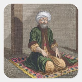 Turkish Man praying 18th century engraving Square Stickers