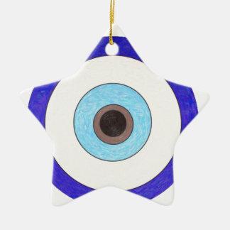 Turkish Nazar Evil Eye Design Ceramic Star Decoration