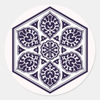 Turkish Ottoman Empire pattern 5 sticker round