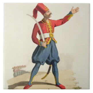 Turkish soldier, from 'Costumes of the Various Nat Large Square Tile