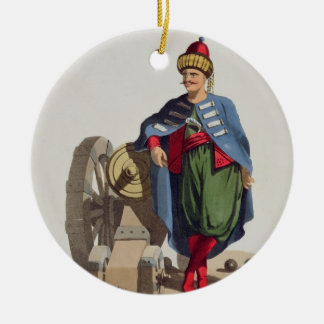 Turkish Soldier, from 'Costumes of the Various Nat Round Ceramic Decoration