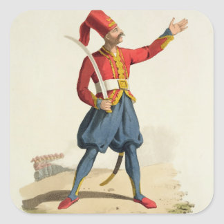 Turkish soldier, from 'Costumes of the Various Nat Square Sticker