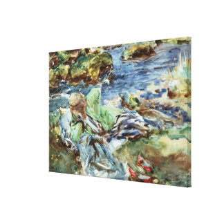 Turkish Woman by a Stream Canvas Print