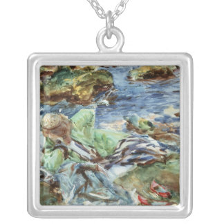 Turkish Woman by a Stream Silver Plated Necklace