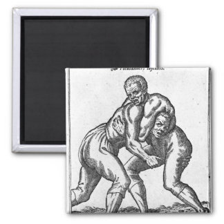 Turkish Wrestlers Square Magnet