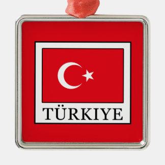 Türkiye Silver-Colored Square Decoration