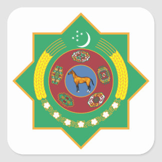 Turkmenistan Coat of Arms Square Sticker