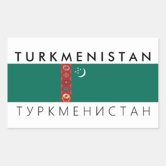 turkmenistan country flag name text symbol rectangular sticker