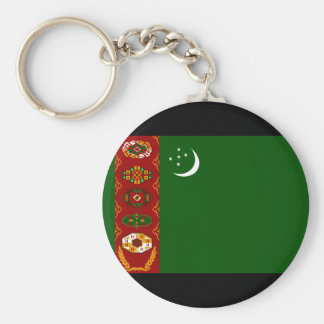 Turkmenistan Flag Basic Round Button Key Ring