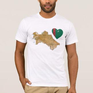 Turkmenistan Flag Heart and Map T-Shirt