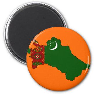 Turkmenistan flag map 6 cm round magnet