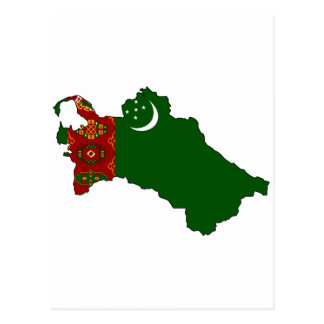Turkmenistan flag map postcard
