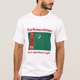 Turkmenistan Flag + Map + Text T-Shirt