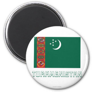 Turkmenistan Flag with Name 6 Cm Round Magnet