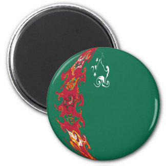 Turkmenistan Gnarly Flag 6 Cm Round Magnet