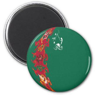 Turkmenistan Gnarly Flag Refrigerator Magnets