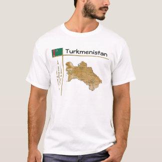 Turkmenistan Map + Flag + Title T-Shirt
