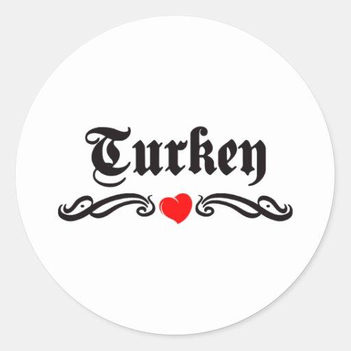 Turkmenistan Tattoo Style Round Stickers