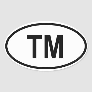 "Turkmenistan ""TM"" Oval Sticker"