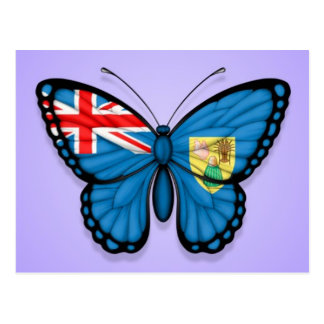Turks and Caicos Butterfly Flag on Purple Postcard