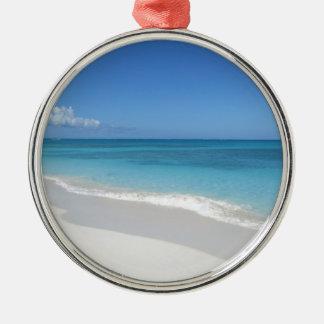Turks and Caicos Dream Beach Silver-Colored Round Decoration