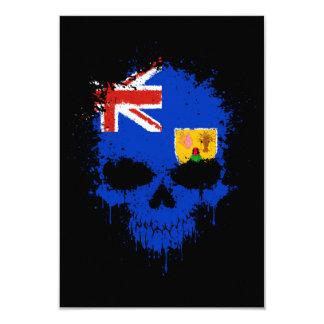 Turks and Caicos Dripping Splatter Skull 9 Cm X 13 Cm Invitation Card