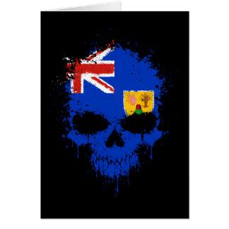 Turks and Caicos Dripping Splatter Skull Greeting Card