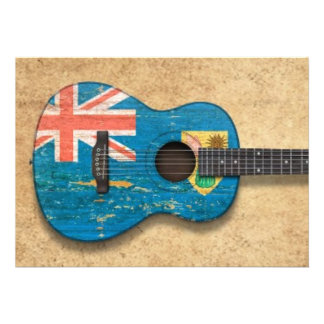 Turks and Caicos Flag Acoustic Guitar Personalized Invitation