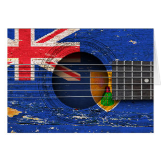 Turks and Caicos Flag on Old Acoustic Guitar Cards