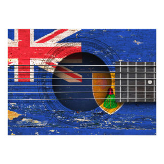 Turks and Caicos Flag on Old Acoustic Guitar Invites
